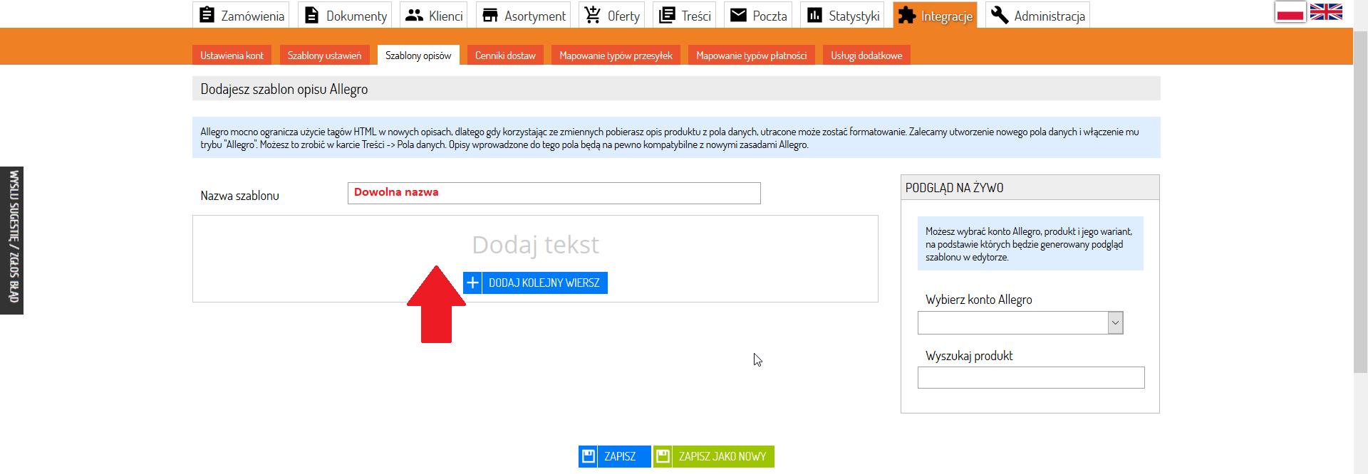 4fdaed551e4207 5. Kliknij w Dodaj tekst, by otworzyć menu i rozpocząć tworzenie szablonu.